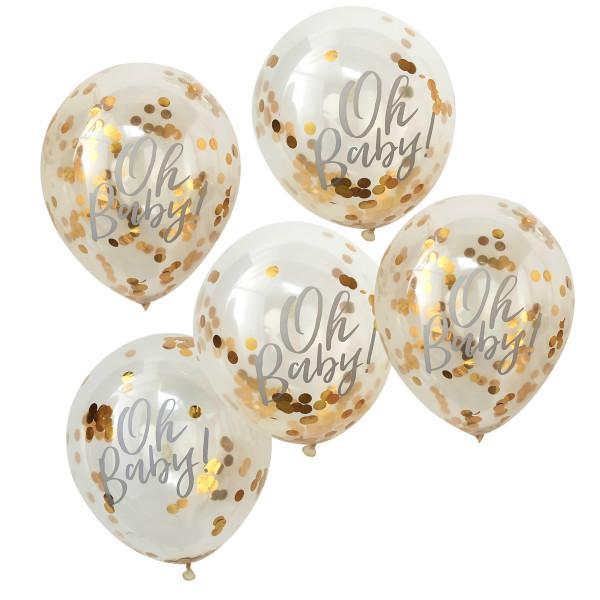 Konfetti Luftballons 'Oh Baby' 5 Stück gold