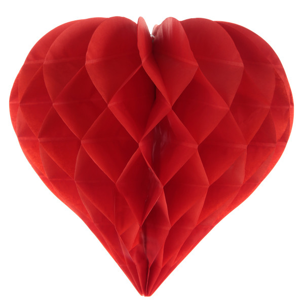 Herz Honeycomb / Wabenball 25 cm (2 Stück) - rot