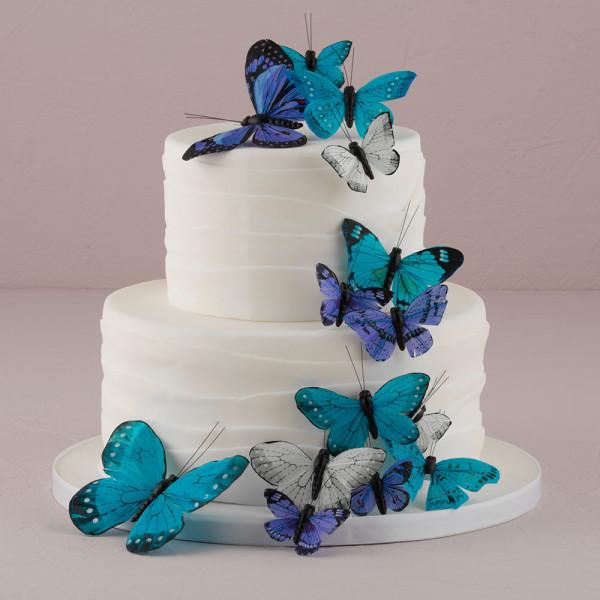 Tortendekoration Schmetterlinge (24 Stück) - blau