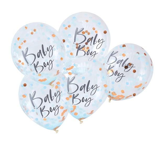 Konfetti Luftballons 'Baby Boy' 5 Stück hellblau