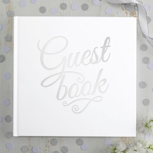 Gästebuch 'Guest Book' - weiß & silber
