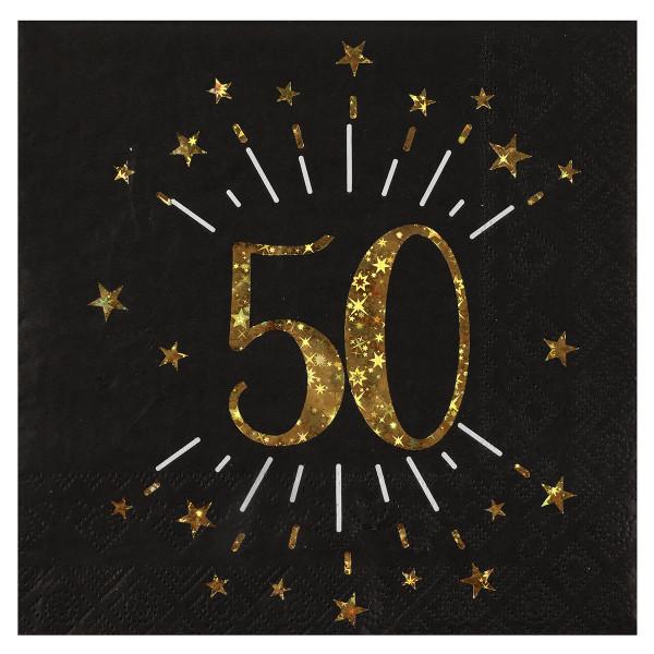 Servietten 50. Geburtstag - schwarz & gold