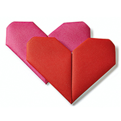 Dinnerservietten Origami Herz (12 Stück) - rot & pink