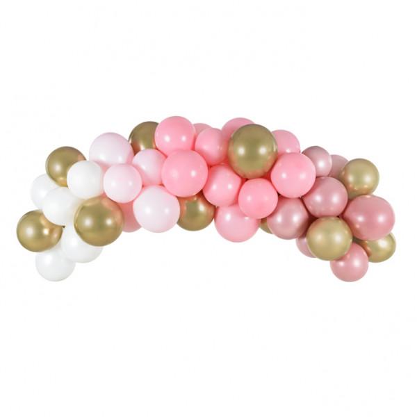 Ballon Girlande / Bogen 60 Stück 200 cm - rosa & gold