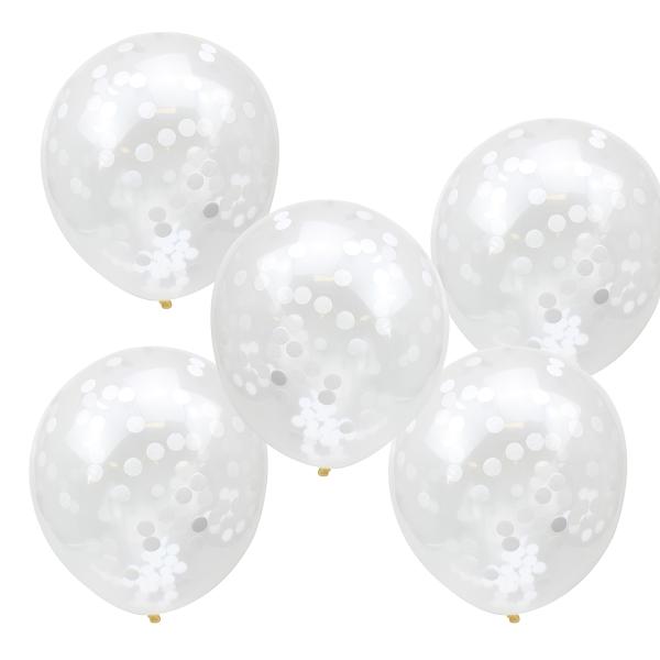 Konfetti Luftballons 5 Stück - weiß