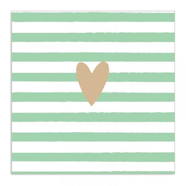 Servietten gestreift mit goldenem Herz (20 Stück) - mint