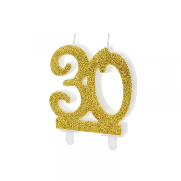 Geburtstagskerze / Kerze '30' - gold