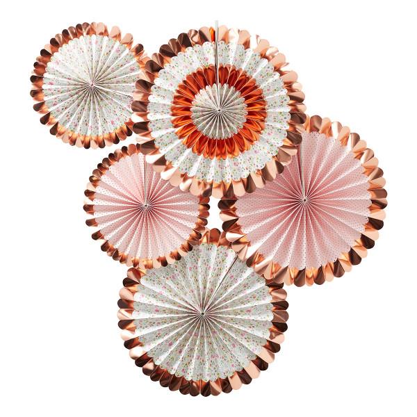 Floral Dekofächer / Dekorosetten (5 Stück) - roségold & rosa