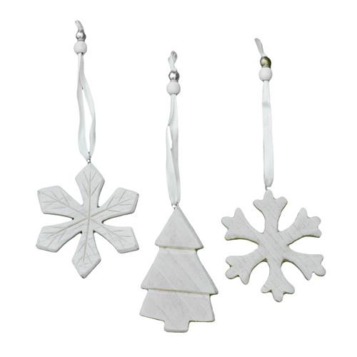 Hänger 'Schneeflocke & Baum' Holz (3 Stück) - weiß