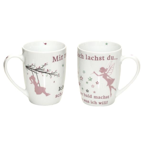 Tassen 'Fee' 2er Set - weiß & rosa