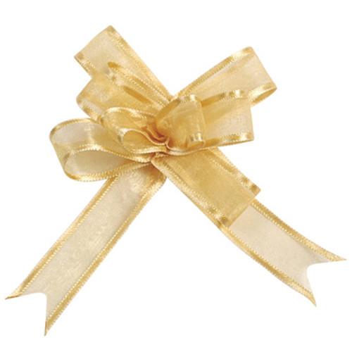 Organzaschleife / Automatikschleife 'Maxi' (5 Stück) - gold