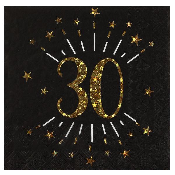 Servietten 30. Geburtstag - schwarz & gold
