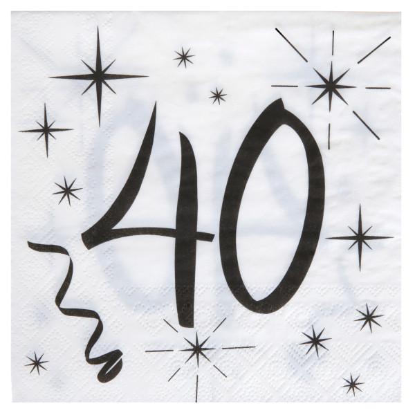 Servietten 40. Geburtstag - weiß & schwarz