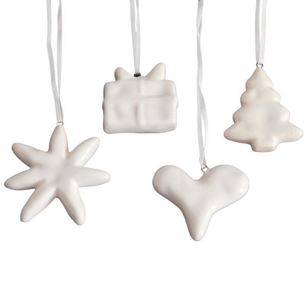 Hänger Weihnachten Keramik (4 Stück) - weiß