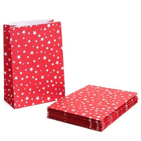 24 Adventskalender Tüten 'Sterne' zum Befüllen - rot & weiß
