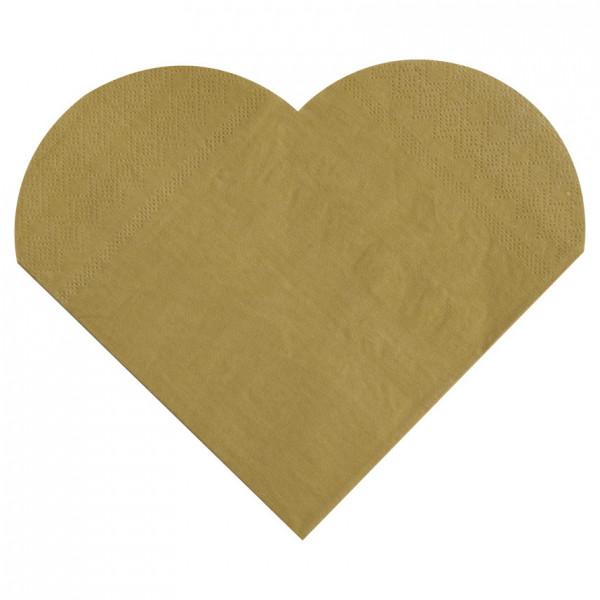 Servietten Herz (20 Stück) - gold