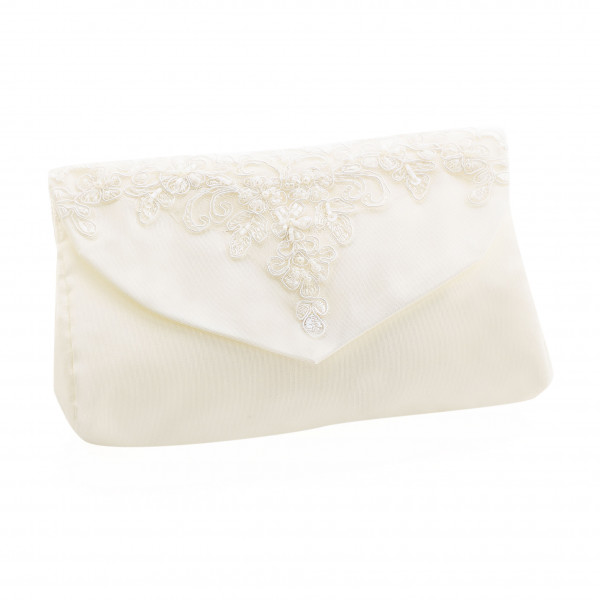 Brauttasche mit Spitze, Perlen und Glasperlen - creme