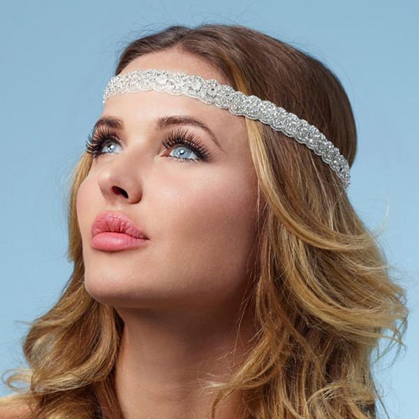 Haarband mit Strasssteinen & Glasperlen
