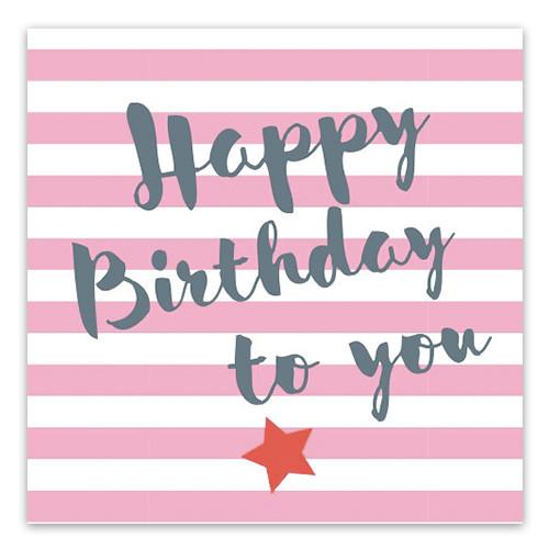 Servietten 'Happy Birthday' Streifen (20 Stück) - pink