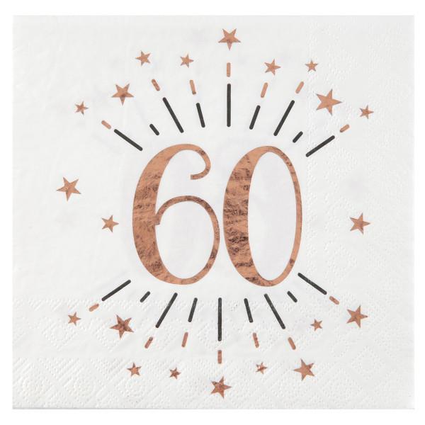 Servietten 60. Geburtstag - weiß & roségold