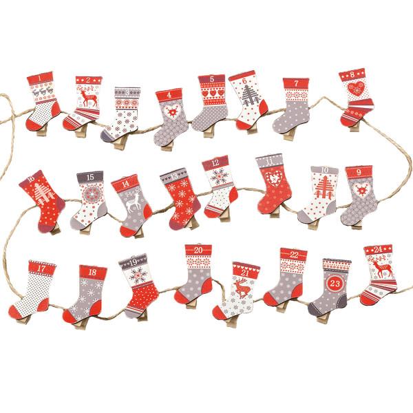 Adventskalender Zahlen-Klammern Socken - rot, weiß & grau