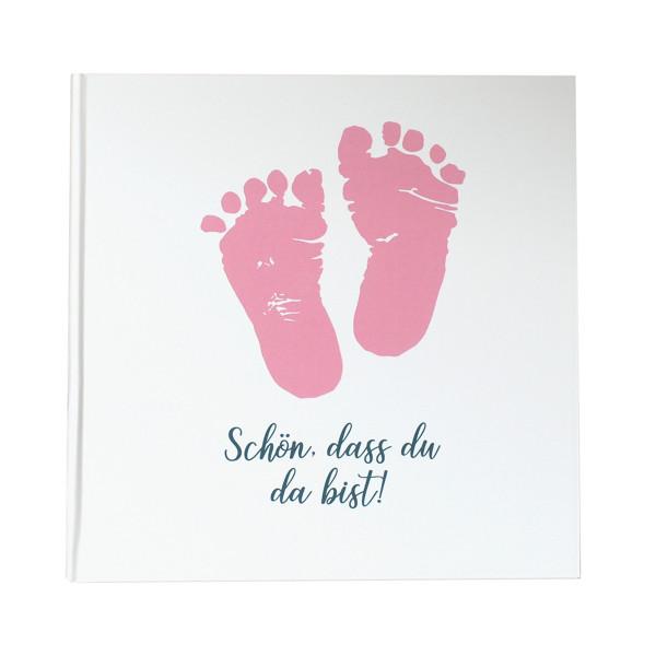 Gästebuch Babyfüße 'Schön, dass du da bist!' rosa
