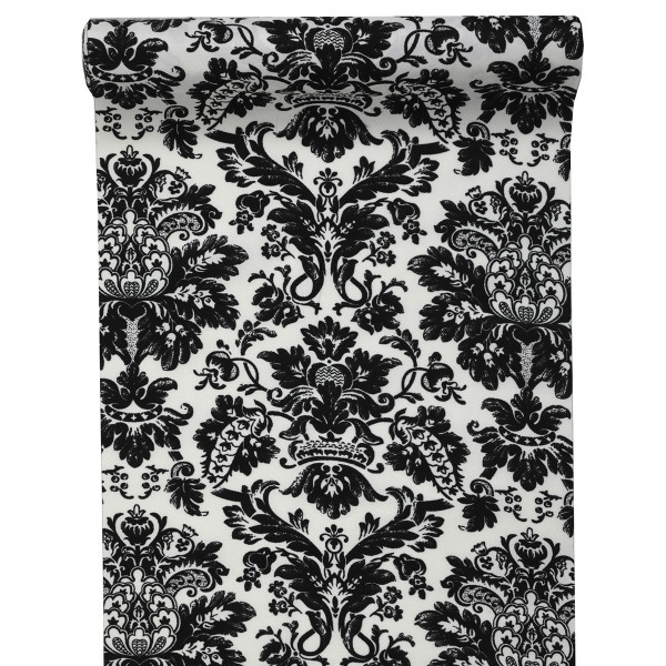 Tischläufer Barock Ornament 28 cm x 5 m - weiß & schwarz