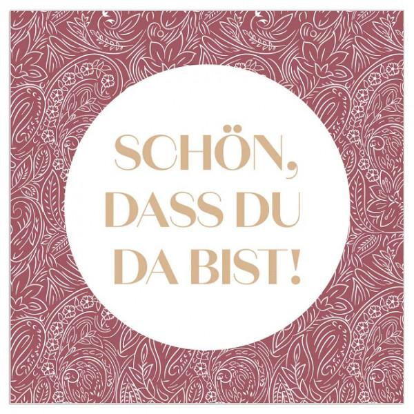 Servietten 'Schön, dass du da bist!' (20 Stück) - rosenholz & gold