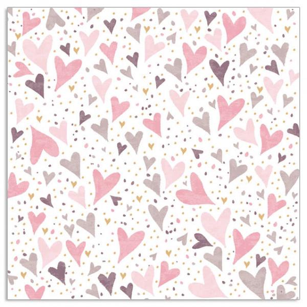 Servietten Herzen (20 Stück) - rosa & taupe