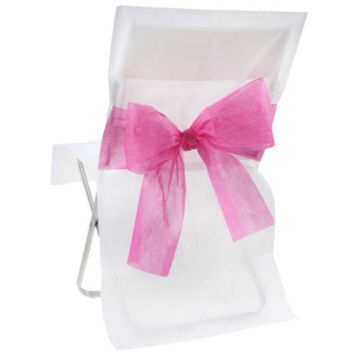 Stuhlhussen mit Schleife, Vlies (10 Stück) weiß-pink