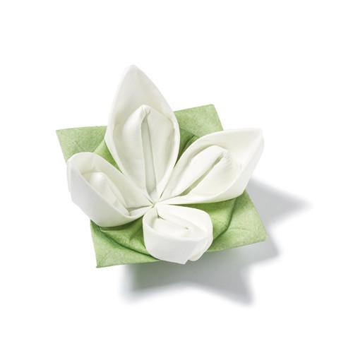 Dinnerservietten Origami Seerose (12 Stück) - weiß