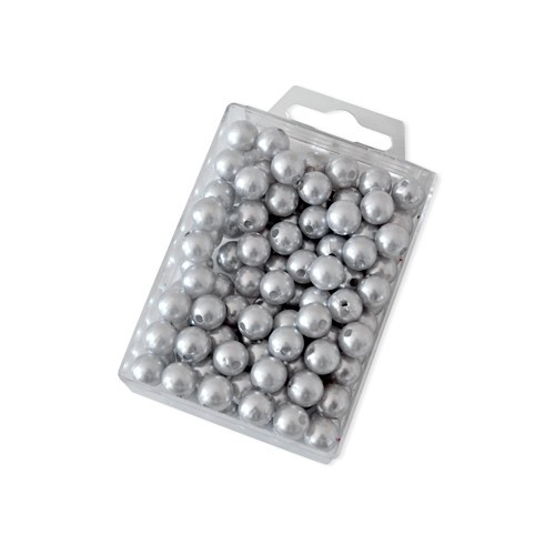 Dekoperlen zum Fädeln Silber 10 mm 115 Stück