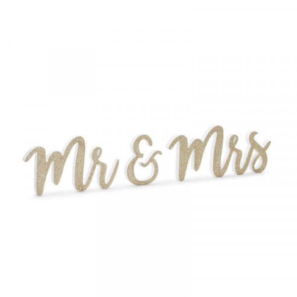 Deko Aufsteller Mr & Mrs - gold Glitzer