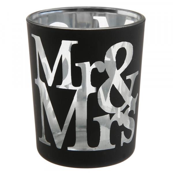 Windlicht Mr & Mrs (2 Stück) - schwarz & silber