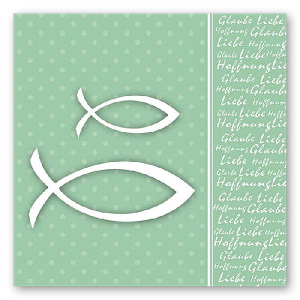 Servietten Glaube Fisch (20 Stück) - grün