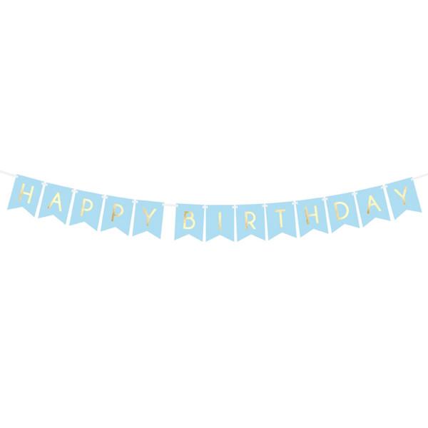 Girlande Happy Birthday 175 cm - hellblau & gold