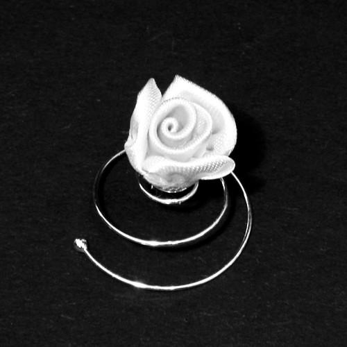 Curlies Satinrose weiß 5 Stück