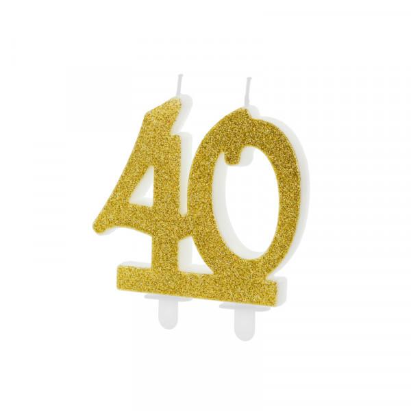 Geburtstagskerze / Kerze '40' - gold