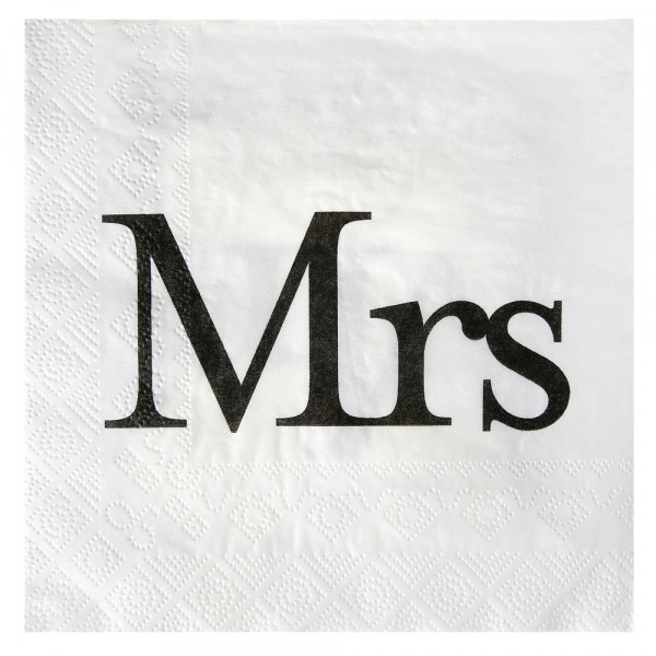 Servietten Mrs (20 Stück) - weiß & schwarz