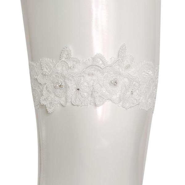 Strumpfband mit Spitzenornament, Strass & Perlen - creme