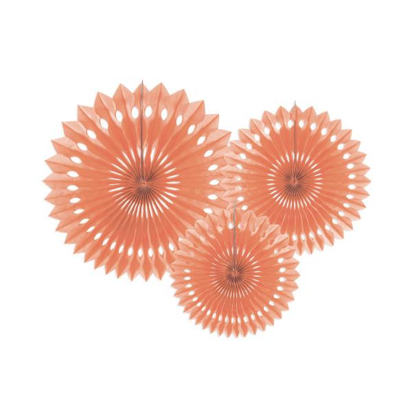 Dekofächer / Dekorosetten 3-teilig - apricot