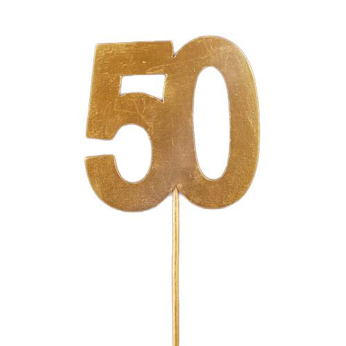 Tortenstecker Goldhochzeit '50', Holz - gold