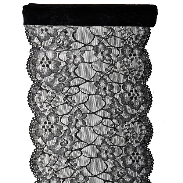 Tischläufer Zarte Spitze 18 cm x 3 m - schwarz