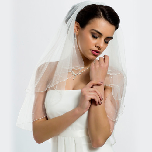 Brautschleier 'Soft' mit Glasperlen Länge 80 / 60 cm - creme