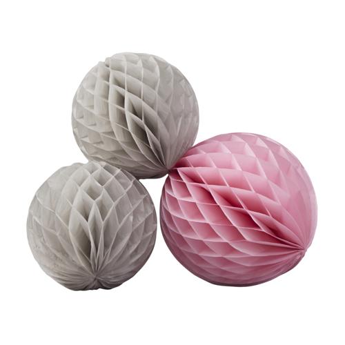 Honeycombs / Wabenbälle (3 Stück) - rosa & grau