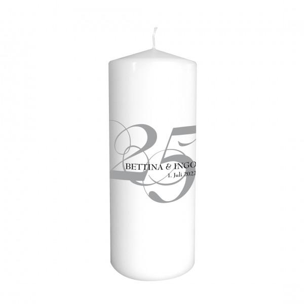 Hochzeitskerze '25' Silberhochzeit