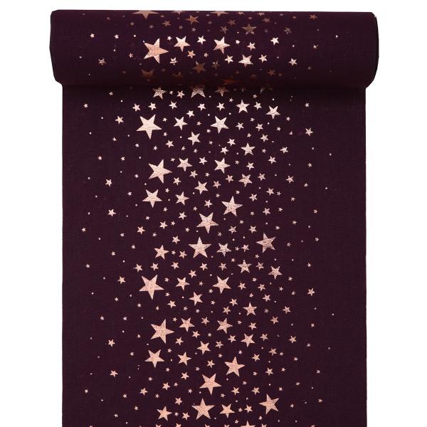 Tischläufer Sterne 28 cm x 3 m - lila & roségold