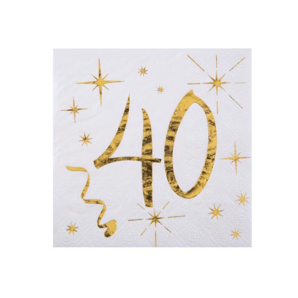 Cocktail Servietten 40. Geburtstag - weiß & gold