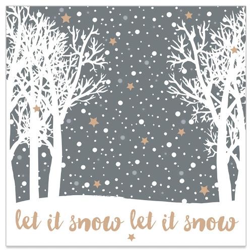 Servietten 'Let it snow' (20 Stück) - grau