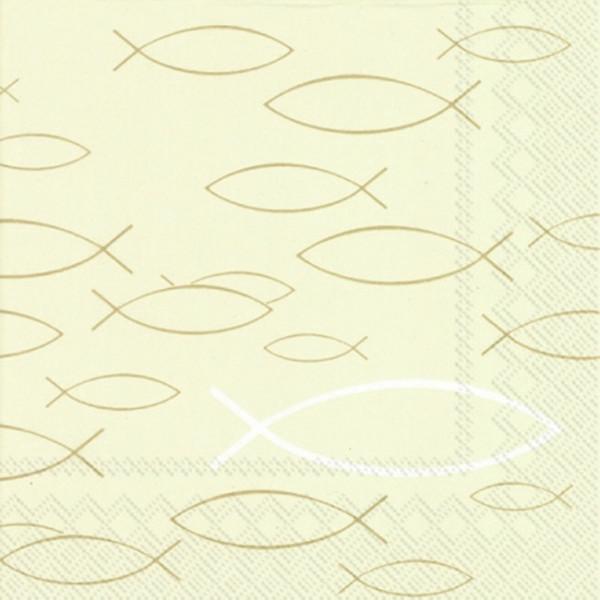 Servietten Fische (20 Stück) - creme